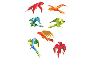 Flying colorful parrots in origami s