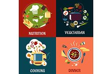 Cooking healthy food flat concept wi