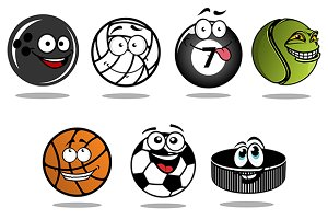 Cartoon hockey puck and sporting bal