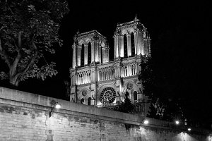 Notre Dame at Night Black and White