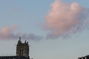 Parisian Buildings with Pink Clouds