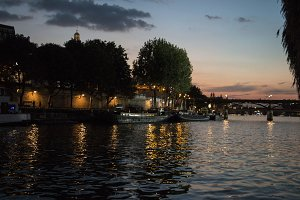 Boats on Seine during Sunset
