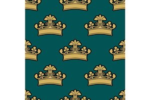 Vintage golden royal crowns seamless