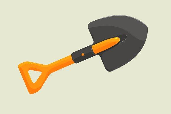 Cartoon shovel to work in the garden