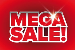 Mega sale lettering vector red