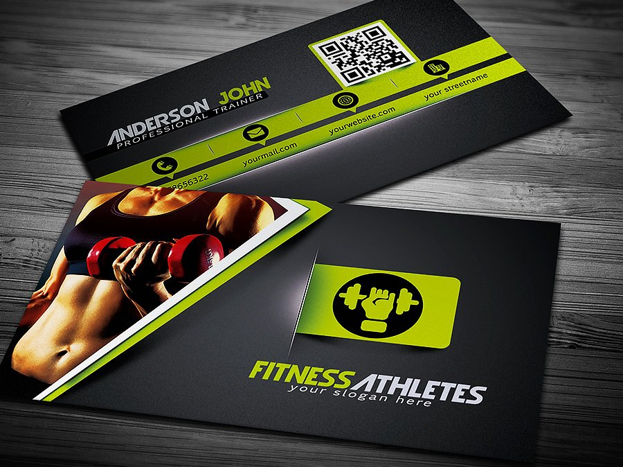 Gym fitness business card template business card templates gym fitness business card template business card templates creative market wajeb Images