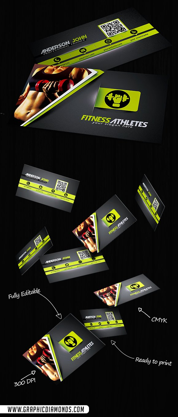 Gym Fitness Business Card Template ~ Business Card Templates ...