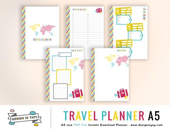 travel planner a5 pdf stationery templates creative market. Black Bedroom Furniture Sets. Home Design Ideas