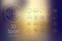 20 sport line icons