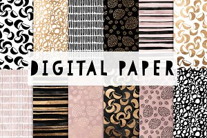 Pink, Gold and Black digital paper