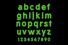 Neon glow alphabet. Vector design