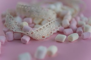 background with colored marshmallows