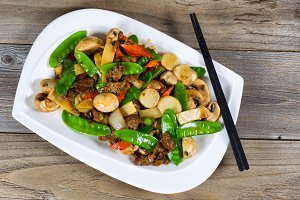 Sliced beef and Veggies Dish