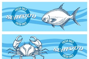 Vector seafood banners set