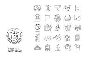 Education outlines vector icons