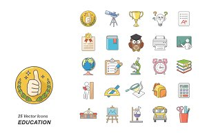 Education colors vector icons