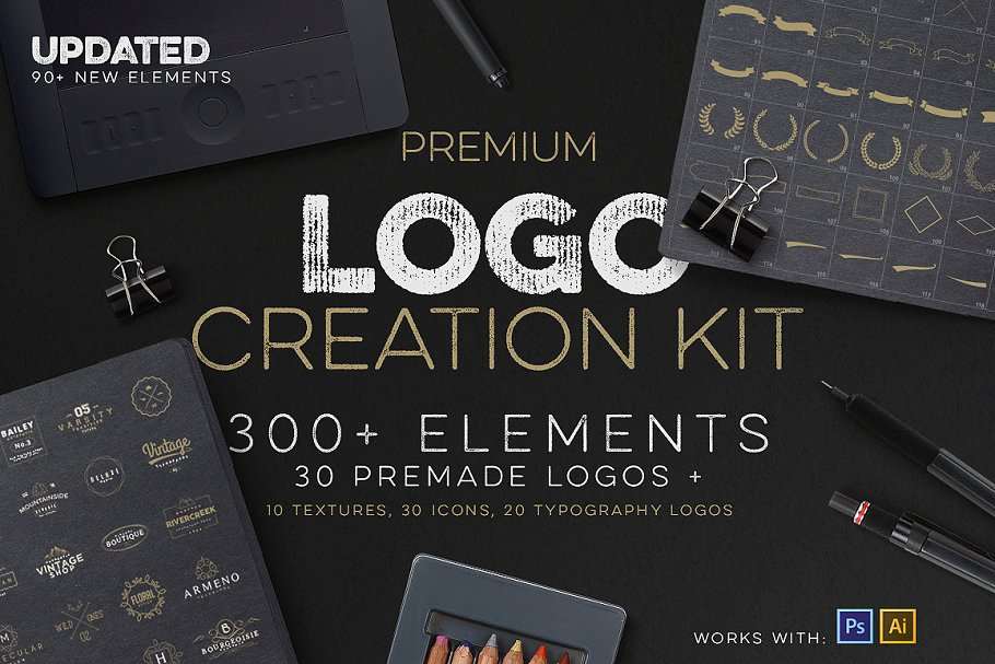 6db378fe08a00 Logo Creation Kit + Bonus ~ Logo Templates ~ Creative Market