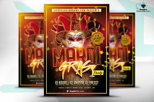 Mardi Gras Party Flyer PSD