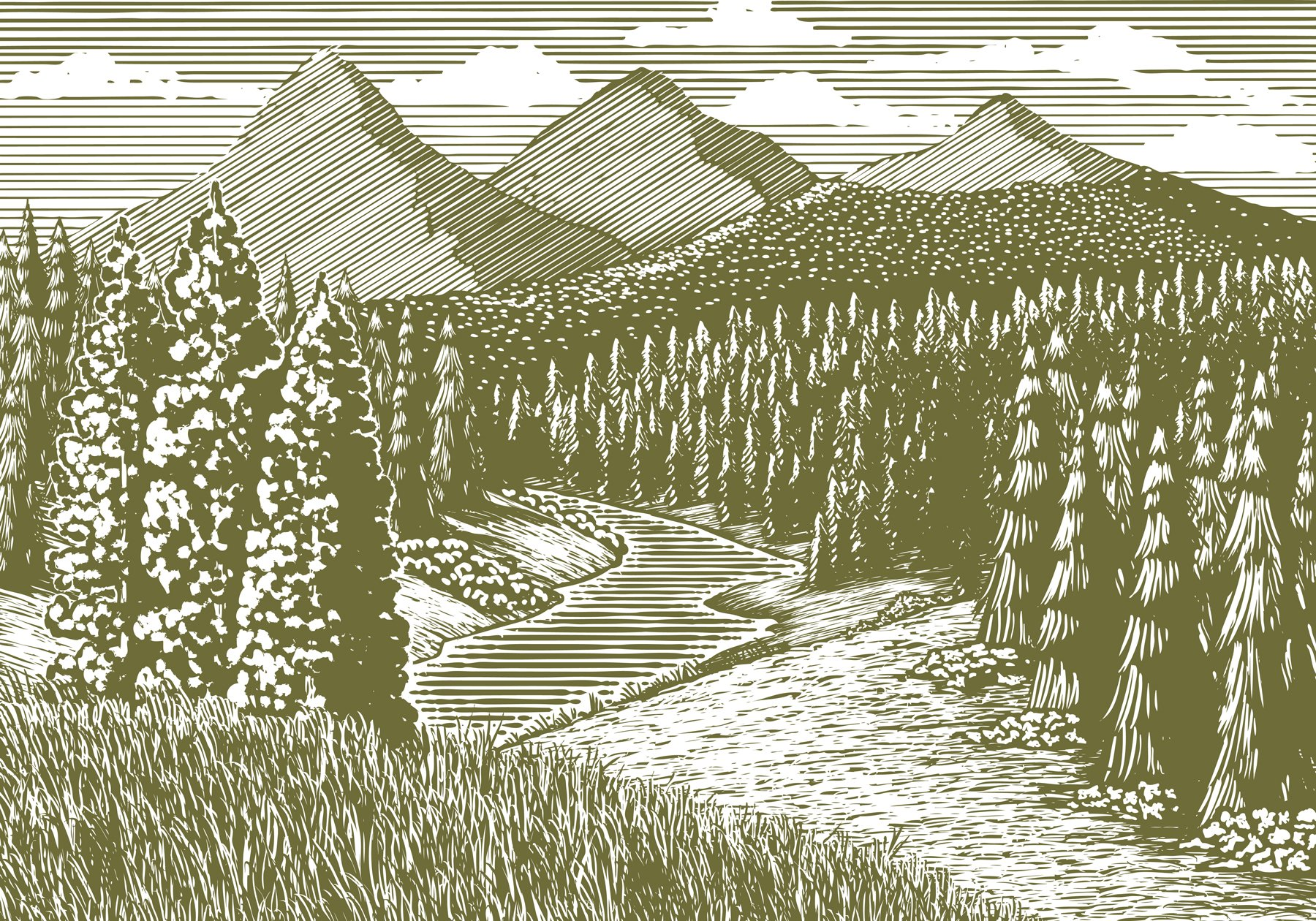 Woodcut Mountain Stream Graphics Creative Market