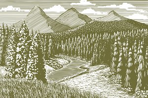 Woodcut Mountain Stream