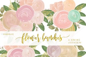 watercolor flower bunches clipart