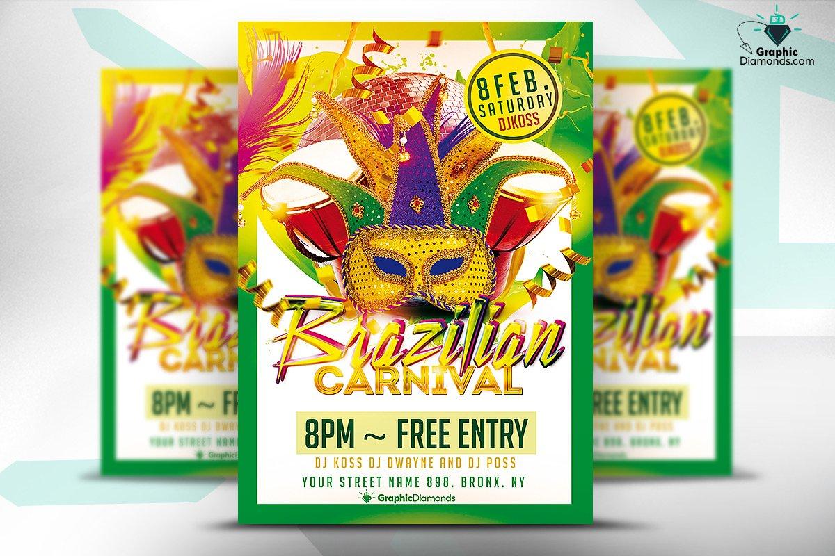 brazilian carnival flyer flyer templates creative market