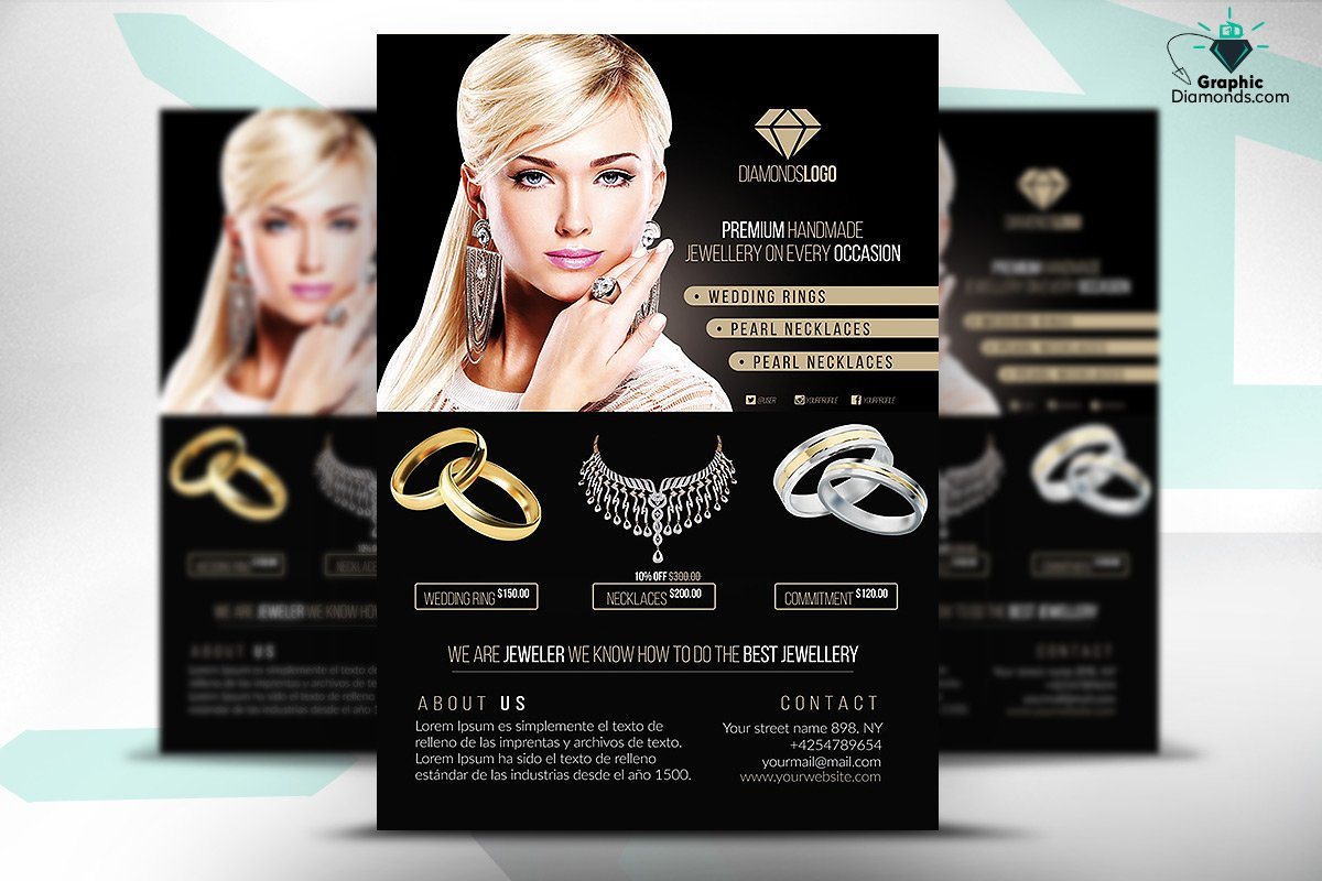 Jewelry flyer psd template flyer templates creative market reheart