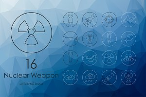 Set of nuclear weapon line icons