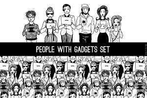 Set of people with gadgets.