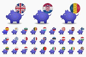 piggy bank and coins european union