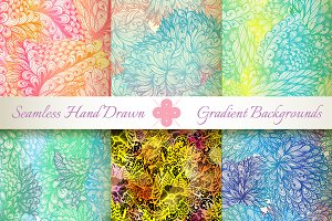 6 Gradient Seamless Florals. Set#1