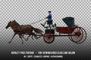 Carriage Horse Drawn Red