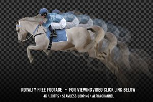 White Horse Jockey Jumping