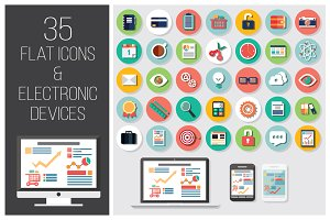 35 Flat Icons + 4 Electronic Devices