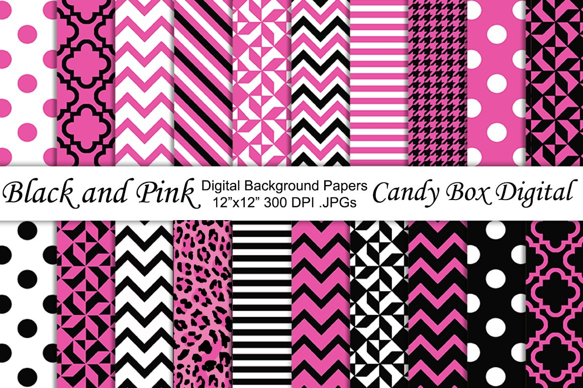 black and pink digital papers graphic patterns creative market