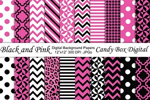 Black and Pink Digital Papers