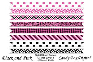 Pink and Black Ribbon Borders