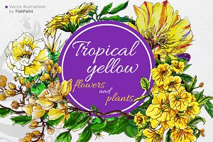Yellow tropical watercolor flowers