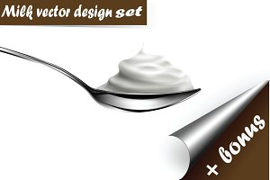 Milk design vector set illustration