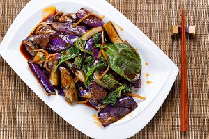 Eggplant and basil dish