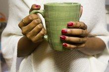 Black Woman Holding Coffee Mug