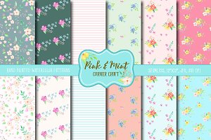 Watercolor Digital Paper Pink & Mint