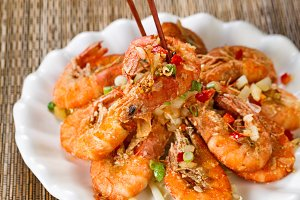 Fried Shrimp with Chopsticks