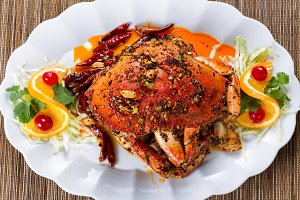 Dungeness crab with peanut sauce