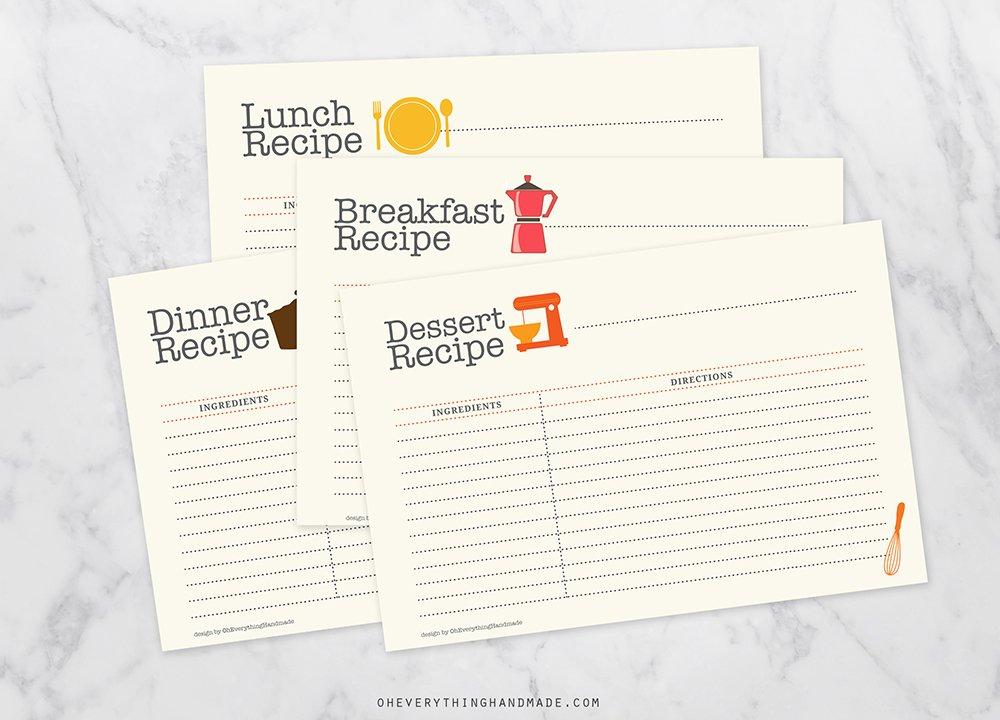 editable recipe card set card templates creative market