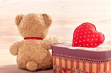 Valentines Day. Teddy Bear Love. Alone, waiting