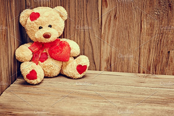 Valentines Day. Love, Teddy Bear Loving. Alone - Arts & Entertainment