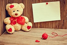 Valentines Day. Teddy Bear Loving. Alone, note