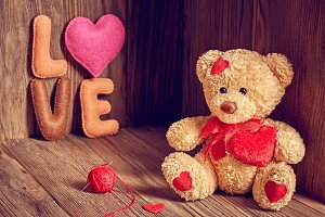 Valentines Day. Teddy Bear Love.Hearts, word Love