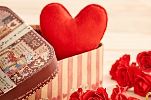 Valentines Day. Love, heart  in gift box and roses